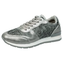 Isolde Womens Flat Lace Up Patterned Trainers