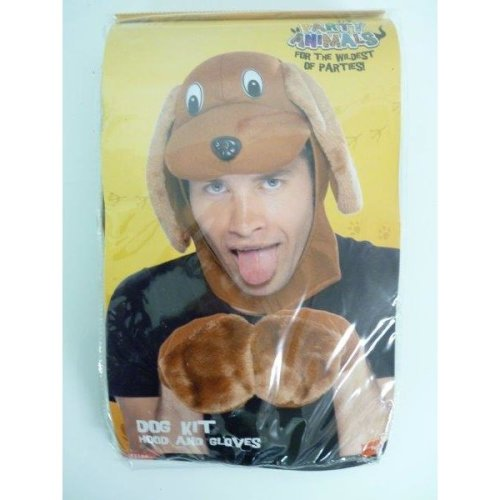 Brown Dog Hood With Ears & Gloves -  kit dog fancy dress costume accessory animal adult mens brown instant smiffys hood gloves