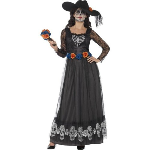 Day Of The Dead Costume Halloween | Smiffy S 44944s Women S Day Of The Dead Skeleton Bride Costume