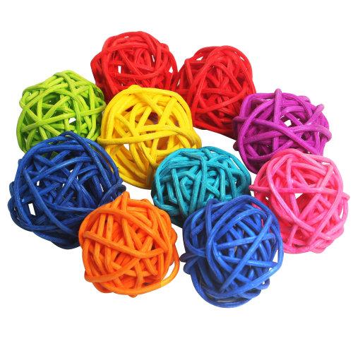 Set of 10 TRIXES Multicoloured Wicker Rattan Balls Hanging Decorations