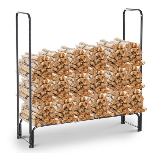 HOMCOM Firewood Log Rack Steel Storage Stand Holder Solid Vertical Black 122 x 35 x 122 cm