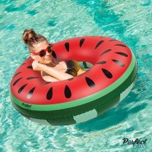 Official 'Perfect Pools' Inflatable Giant Watermelon Rubber Ring | Swimming Pool Float 110cm