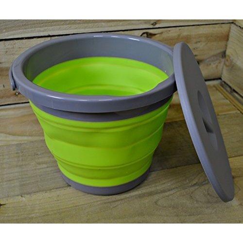 Summit Pop 5l Bucket With Easy Pour, Lid & Handle Green/grey Camping Caravan