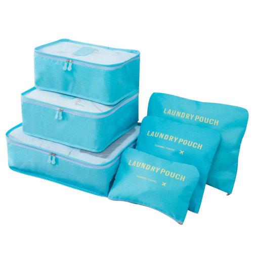 Miss Lulu 6Pcs Clothes Underwear Socks Packing Travel Luggage Organizer Bag Cube Storage Blue