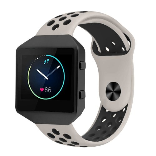 Fitbit Blaze Strap Silicone with Frame, Small Breathable Sports Replacement Wrist Strap with Silver Metal Case for Smart Fitness Watch Women Men...