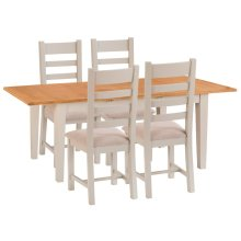 St. Ives Truffle Painted Oak 1.6m Ext. Table & 4 Fabric Seat Chairs