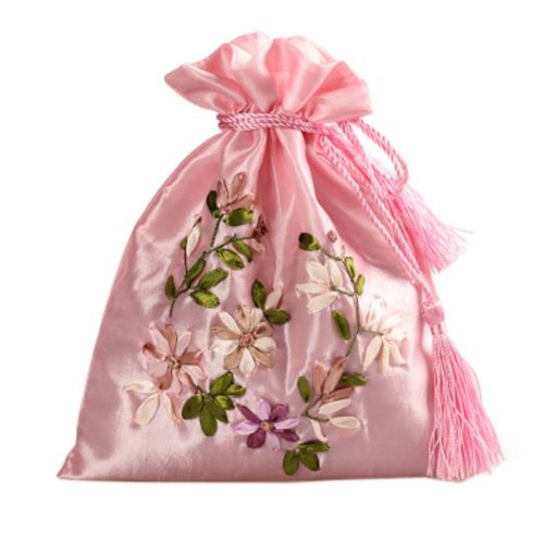 Gorgeous Wedding Gift Bag Ribbon Embroidery Jewelry Organizer Pouch Bags, Pattern Random(D)
