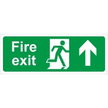 Fire Exit Arrow Up Self Adhesive Vinyl 400mm x 150mm - Castle Promotions Sign -  fire exit arrow up vinyl 150mm castle self adhesive promotions 400mm