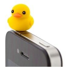 3 Pcs 3.5mm Cell Phone Universal Dust Plug Cartoon Ear Cap YELLOW Duck