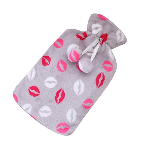 [Gray] Big Hot Water Bottle Cute Hot Water Bag Hot Water Bottle With Cover