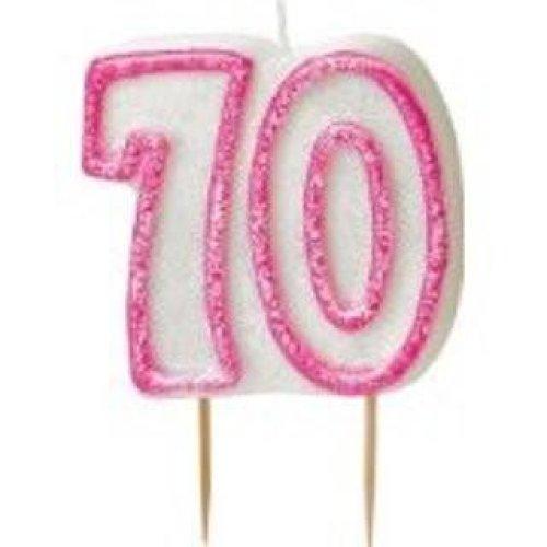 Age 70 Birthday Candle Pink Glitz