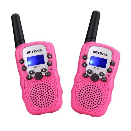 Retevis RT388 Kids Walkie Talkie Pink PMR446 8 Channels Flashlight VOX 10 Call Tones 2 Way Radio for Children Boys Girls Garden Suburbs...