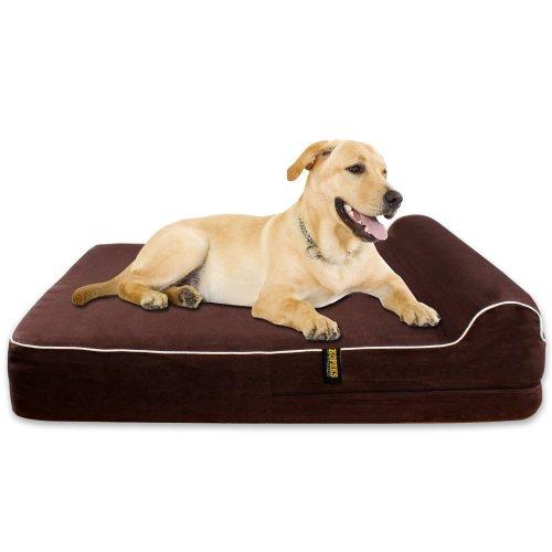 KOPEKS - Orthopedic Memory Foam Dog Bed With Pillow and Waterproof Liner & Anti-Slip Bottom - JUMBO XL Size - Brown