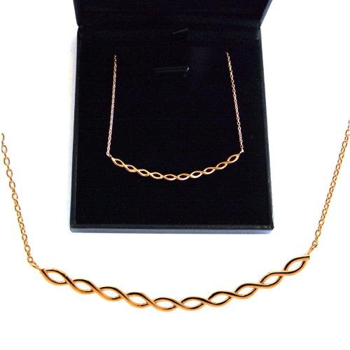 de903344100 375 9ct Rose Gold Infinity Loops Bar Necklace 45cm