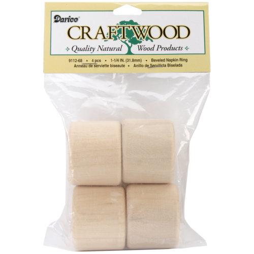 """Wood Turning Shapes-Napkin Ring 1.25"""" 4/Pkg"""