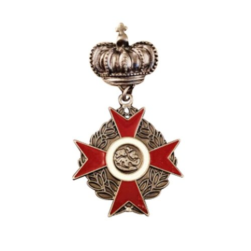 2 PCS British Style Elegant Alloy Badge with Crown Brooch, 5x3 cm