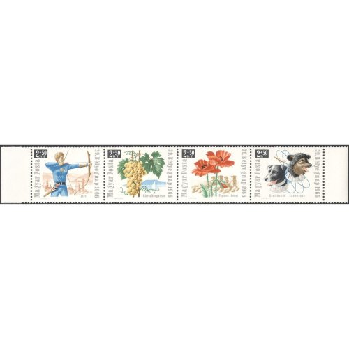 Hungary 1966 Stamp Day/ Space Dogs/ Flowers/ Archery/ Sports/ Grapes/ Wine/ Buildings 4v set strip (n43640) on OnBuy