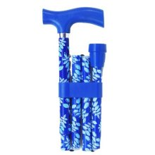 Switch Sticks Essentials- Leaf Blue/turquoise -  adjustable folding walking sticks essentials blue leaf design switch turquoise
