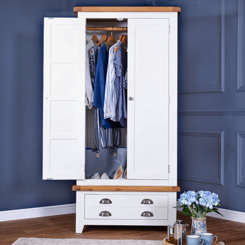 Hampshire White Painted Oak Gents Double Wardrobe
