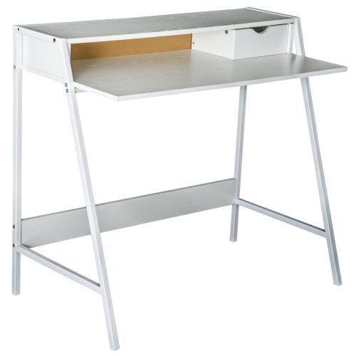 HOMCOM Computer Desk Writing PC Laptop Table Study Workstation 1 Drawer Storage Shelf Home Office Furniture White