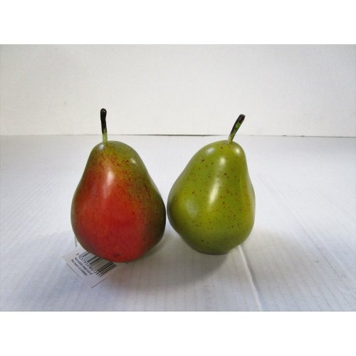 2 Artificial Red/ Green Pears - Artificial Plastic Pear - Decorative Fruit
