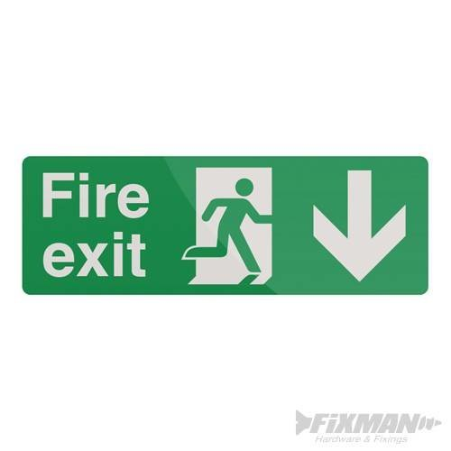 400mm x 150mm Fire Exit Arrow Sign - Pl Down Fixman 400 530774 -  fire exit arrow sign 150mm pl down fixman 400 530774