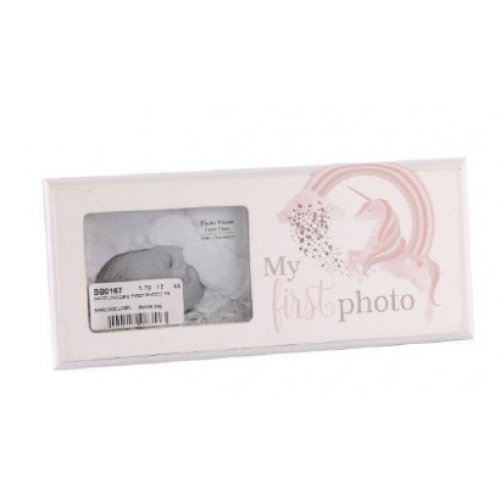 Baby First Photo Unicorn & Rainbow Design Picture Frame Christening Gift