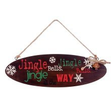 Hanging Oval Wooden Christmas 'Jingle Bells' Lyric Sign