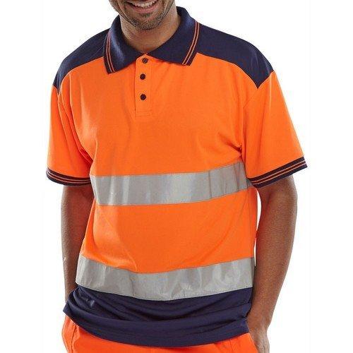 Click CPKSTTENORXXL Hi Vis Orange / Navy Blue Polo Shirt 2 Tone XXL