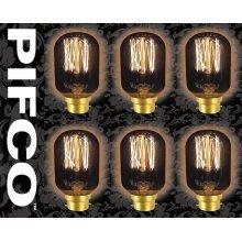 6 X PIFCO T45 40 Watt B22 Bayonet Vintage Tubular Retro Light Bulbs
