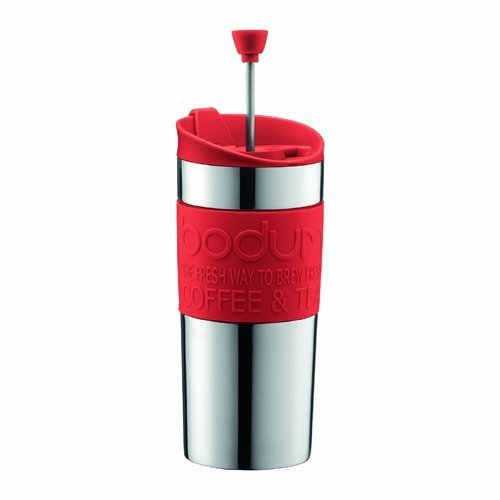 BODUM Travel French Press Coffee Maker Set, Stainless Steel with Extra Lid, Vacuum, 0.35 L/12 oz, Red