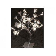 45cm Blossom Tree With 36 Warm White Flower LED Lights - Christmas Silver -  white christmas warm led silver deluxe finish tree snow 45cm