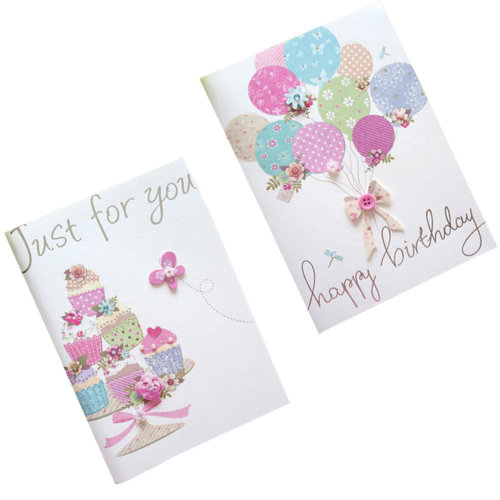 Set of 10 Lovely Cards Thank You Greeting Card Assortment,Balloon&Cake