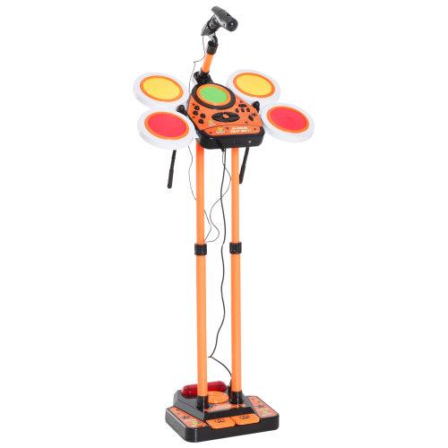 HOMCOM Kids Jazz Drum Set Junior Electronic Musical Toy Rhythm Instrument for Children Percussion Beats Kit - Orange