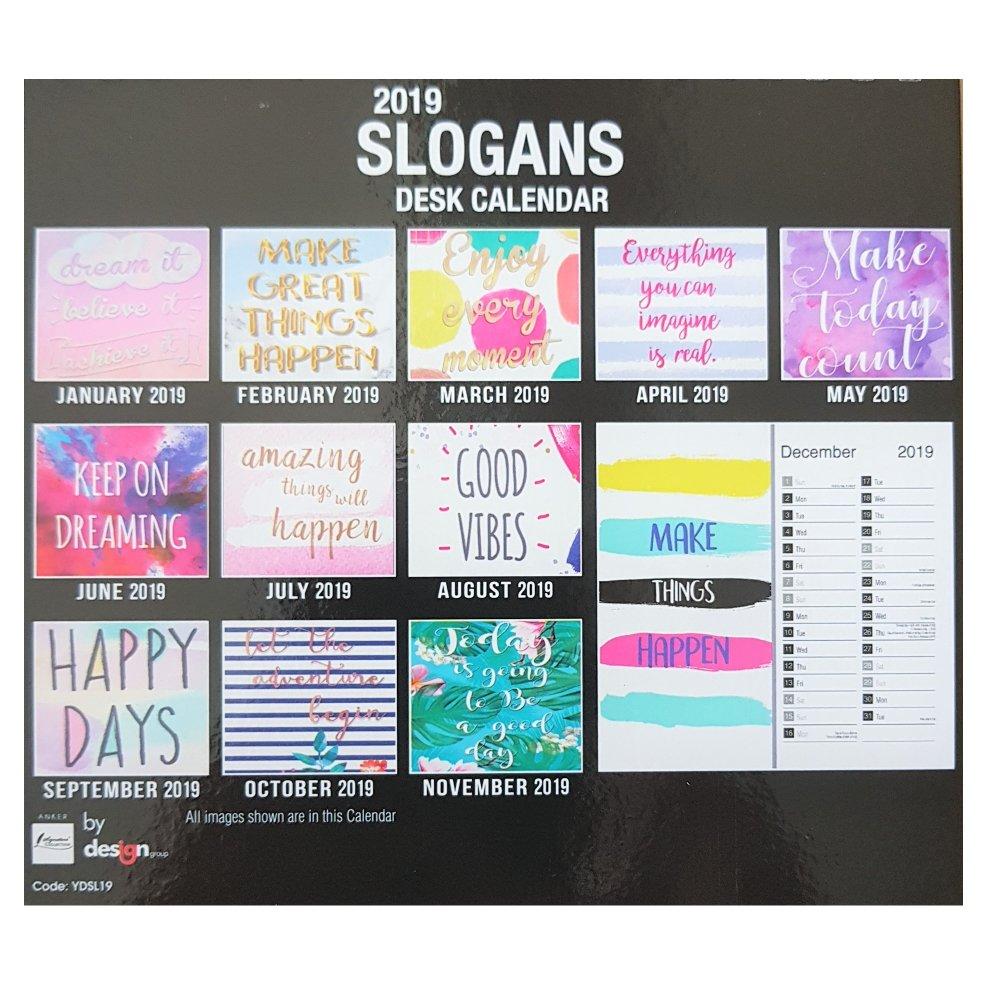 2019 Slogans Desk Calendar Positive Quotes Quotations Inspirational