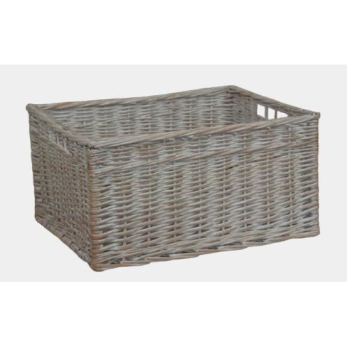 White Wash Storage Wicker Open Basket Medium
