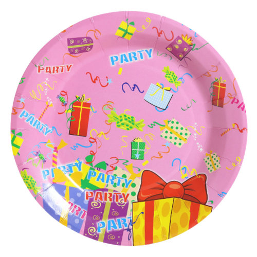Birthday Party Paper Plates with Bright Color and Unique Design 30Pcs