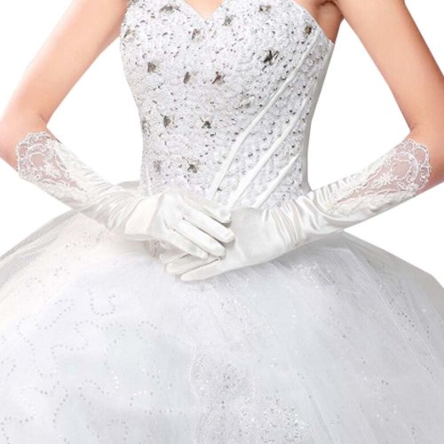 Bridal Wedding Gloves Party Dress Lace Long Gloves A14
