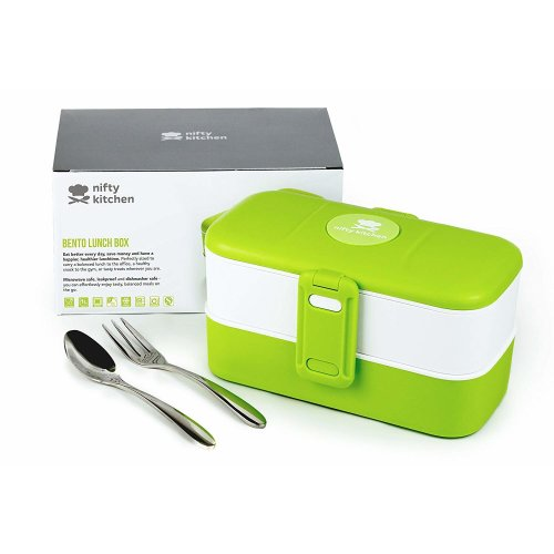 Bento Lunch Box - Microwave Safe for Adults & Kids - With LeakStopper Lids to Prevent Spills in Your Work or School Bag - 2 Compartments with Cutlery + Bonus Recipes eBook