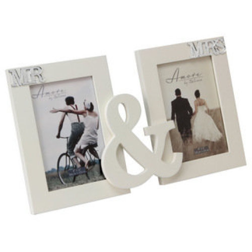 Amore MDF Double Aperture Photo Frame Mr. And Mrs.