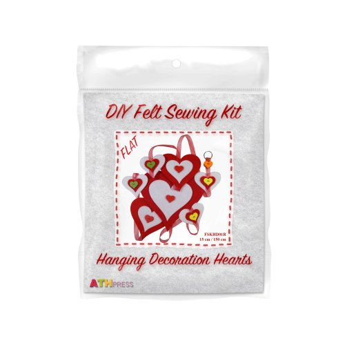 ATH Press - DIY Felt Sewing Kit - Hanging Decoration Hearts-Red-Flat