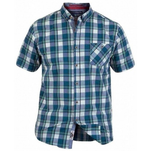 D555 Men's Henry Regular Short Sleeve Check Shirt