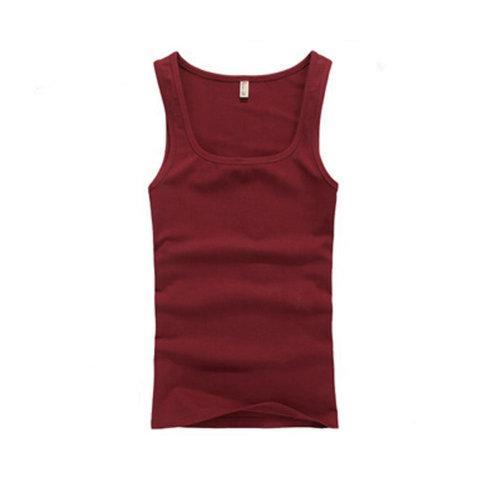 Summer Close-Fiting Bottoming Vest Sport Vest For Men Dark Red