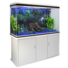 Aquarium Fish Tank & Cabinet with Complete Starter Kit - White Tank & Blue Gravel