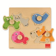 Goula Domestic Animals Wooden Peg Puzzle (4 Pieces)