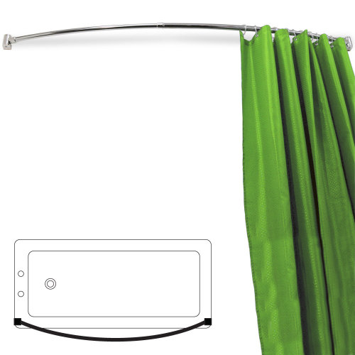 ARC - Curved Extendable Telescopic 110cm - 196cm Chrome Shower Curtain Rail - Silver