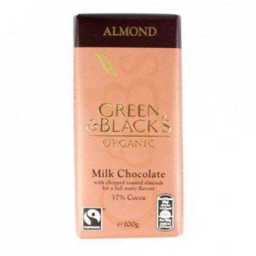 Green & Blacks - Milk Chocolate Bar - Chopped Almond 100g x 15