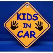 Kids In Car Diamond Hanger Sign -  car kids diamond sign castle promotions suction cup orange dh13 window