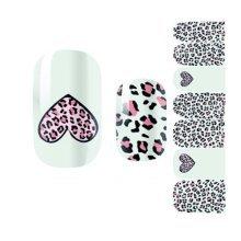 Heart Leopard Print Nail Art Sticker Nail Decals Nail Wrap Decoration - 3 Sheet