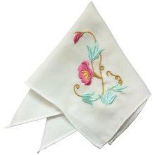 One White Elegant And Retro Morning Glory Embroidered Handkerchief-B